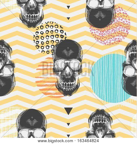 Kitschy seamless pattern with sugar skulls multicolored circles of different textures orange and white zigzag lines on background. Vector illustration in pop art style for fabric print wallpaper