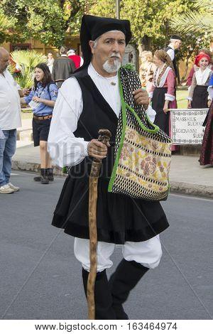 SELARGIUS, ITALY - September 8, 2013: Former marriage Selargino - Sardinia - portrait of a man of the folk group of pro-loco Senis