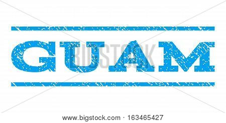 Guam watermark stamp. Text tag between horizontal parallel lines with grunge design style. Rubber seal stamp with unclean texture. Vector blue color ink imprint on a white background.