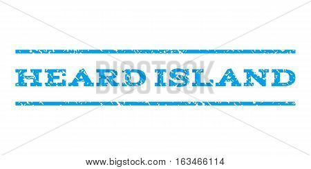 Heard Island watermark stamp. Text caption between horizontal parallel lines with grunge design style. Rubber seal stamp with unclean texture. Vector blue color ink imprint on a white background.