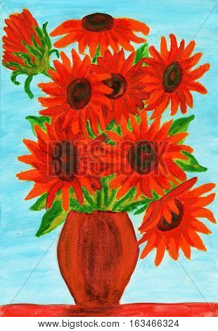Bouquet of red flowers in vase illustration.