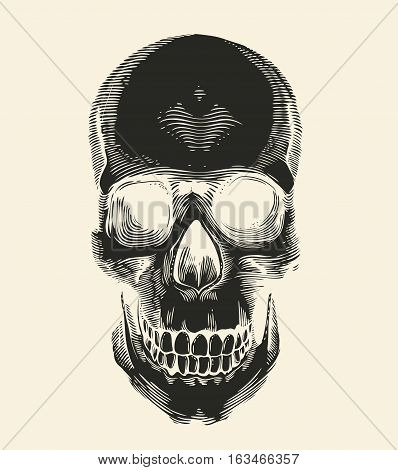 Human skull silhouette drawn in vintage engraving or woodcut style front view. Symbol of death and horror. Monochrome vector illustration for label postcard banner tattoo logo T-shirt print
