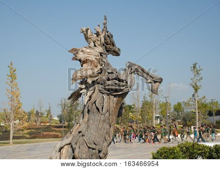 ANTALYA/TURKEY-OCTOBER 18, 2016: Topiary horse to ramp at the EXPO 2016 Antalya area. October 18, 2016-Antalya/Turkey