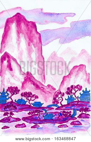 Hand painted picture - landscape with mountains in pink colours watercolours in traditions of old Chinese painting mixed with individual style.