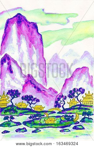 Hand painted picture - landscape with mountains in purple and blue colours watercolours in traditions of old Chinese painting mixed with individual style.