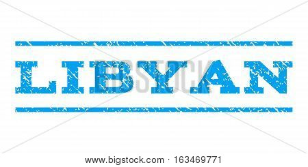 Libyan watermark stamp. Text tag between horizontal parallel lines with grunge design style. Rubber seal stamp with dirty texture. Vector blue color ink imprint on a white background.