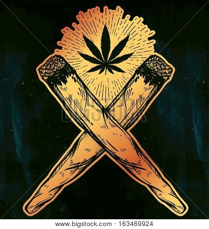 Two crossed weed joints or spliffs with a leaf of cannabis. Drug consumption, marijuana use silhouette clip art. Concept design, Elegant tattoo artwork. Isolated vector illustration.