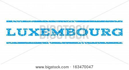 Luxembourg watermark stamp. Text caption between horizontal parallel lines with grunge design style. Rubber seal stamp with dirty texture. Vector blue color ink imprint on a white background.