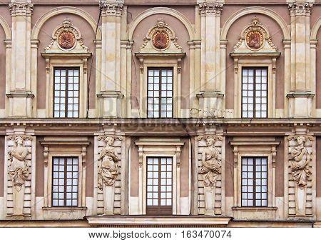 Windows of Stockholm Royal Palace (Kungliga slottet) in old town (Gamla stan), Stockholm, Sweden