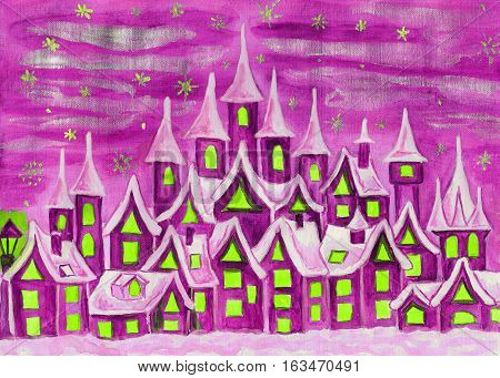 Hand painted illustration watercolours fairy town in pink colours can be used as illustration for children's fairy tales Christmas picture etc.