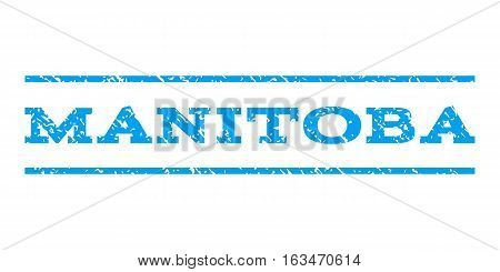 Manitoba watermark stamp. Text tag between horizontal parallel lines with grunge design style. Rubber seal stamp with unclean texture. Vector blue color ink imprint on a white background.