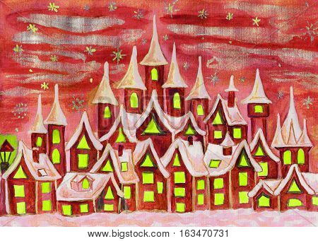 Hand painted illustration watercolours fairy town in red colours can be used as illustration for children's fairy tales Christmas picture etc.