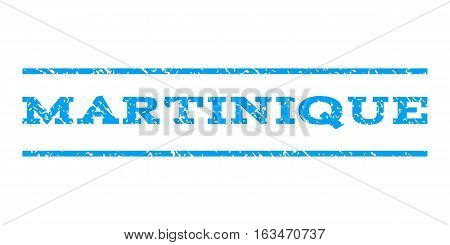 Martinique watermark stamp. Text caption between horizontal parallel lines with grunge design style. Rubber seal stamp with dirty texture. Vector blue color ink imprint on a white background.