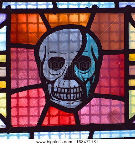 PARIS FRANCE OCT 17 2014: Stained glass window of the Basilica of the Sacred Heart of Paris is a Roman Catholic church and minor basilica, dedicated to the Sacred Heart of Jesus.