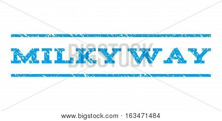 Milky Way watermark stamp. Text tag between horizontal parallel lines with grunge design style. Rubber seal stamp with dirty texture. Vector blue color ink imprint on a white background.
