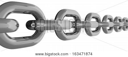 Metal Chain Line Isolated on White Backgroound 3D Rendering