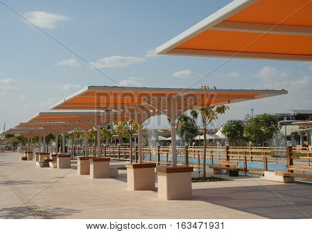 Yellow sunshades at the EXPO 2016 Antalya