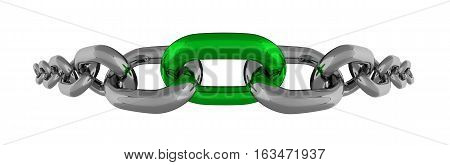 Metal Chain Fisheye Line With Green Element Isolated 3D Rendering