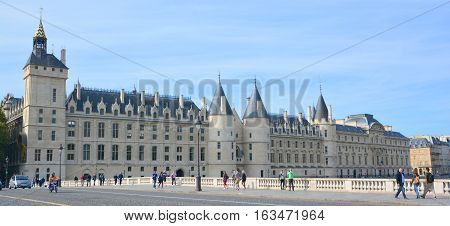 PARIS FRANCE OCT 16 2014: The Conciergerie is a building in Paris, France formerly a prison but presently used mostly for law courts. It was part of the former royal palace, the Palais de la Cite