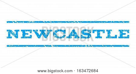 Newcastle watermark stamp. Text caption between horizontal parallel lines with grunge design style. Rubber seal stamp with unclean texture. Vector blue color ink imprint on a white background.