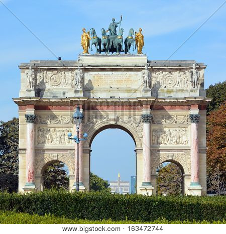 PARIS, FRANCE OCTOBER 17: Arch Triumph Carousel on October 17, 2014. Triumphal arch in Paris, located in the Carousel Square on the site of the former Tuileries Palace.