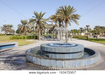 Fountain at the corniche park in Abu Dhabi United Arab Emirates