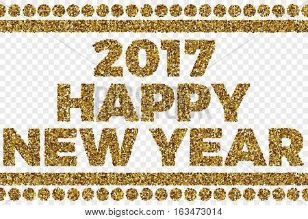 2017 Happy New Year Golden Shiny Tinsel Square Particles Abstract Vector Illustration on Transparent Background. Celebration, holidays and party design element