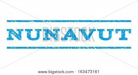 Nunavut watermark stamp. Text caption between horizontal parallel lines with grunge design style. Rubber seal stamp with dirty texture. Vector blue color ink imprint on a white background.