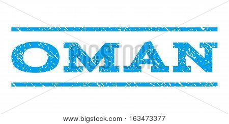 Oman watermark stamp. Text tag between horizontal parallel lines with grunge design style. Rubber seal stamp with dirty texture. Vector blue color ink imprint on a white background.