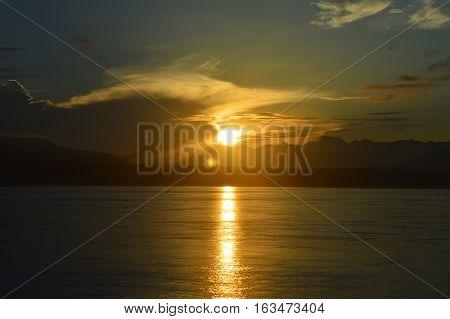 Sunrise in Bali Strait. Some memories in beautiful morning.
