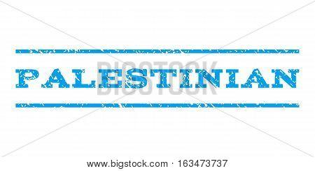 Palestinian watermark stamp. Text caption between horizontal parallel lines with grunge design style. Rubber seal stamp with scratched texture. Vector blue color ink imprint on a white background.