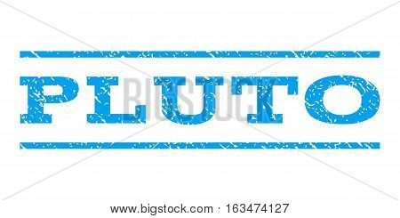 Pluto watermark stamp. Text caption between horizontal parallel lines with grunge design style. Rubber seal stamp with dust texture. Vector blue color ink imprint on a white background.