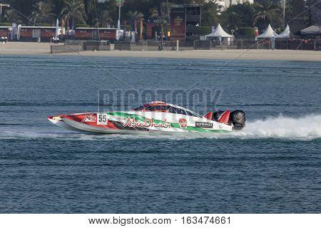 ABU DHABI UAE - NOV 24 2016: Team Abu Dhabi racing boat at the Powerboat Championship 2016 in Abu Dhabi United Arab Emirates