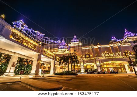 Macau, China - December 8, 2016: night view of Galaxy Macau Resort Hotel Casino in Cotai Strip. Macau is the gambling capital of Asia and is visited by over 25 million people every year.