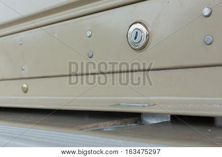 key hole on roller shutter door, industry object