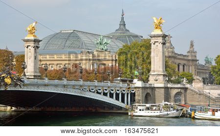 PARIS FRANCE OCTOBER 17: Statues an details of the Alexandre III bridge and The grand Palais on October 17 2014 in Paris France