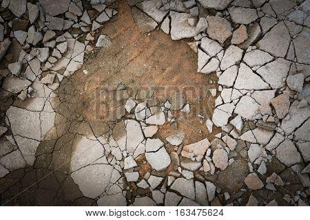 Broken Cement Concrete Floor