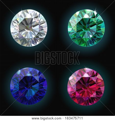 Set Ruby Sapphire Emerald Diamond. Vector