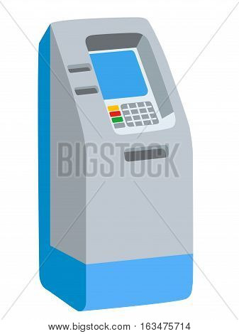 Isolated vector illustration of ATM bank cash machine on white background