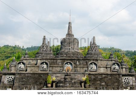 Brahma Vihara Arama in northern Bali is built in the style of the famous Borobudur temple