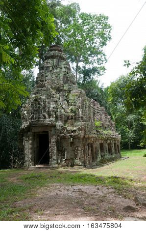 A stone chapel or fire temple at the Preah Kahn complex at Angkor Cambodia