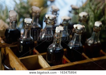 decoration the old bottles wine in box clouse up