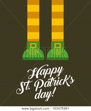 Saint Patricks Day card with irish shoes. colorful design. vector illustration