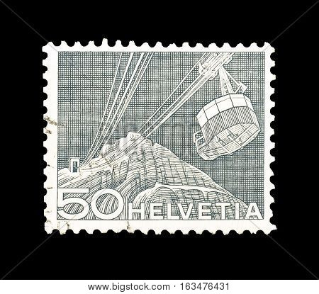 SWITZERLAND- CIRCA 1949 : Cancelled postage stamp printed by Switzerland, that shows Cable track to Santis.