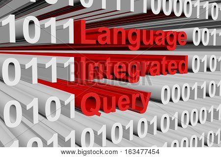 Language Integrated Query in the form of binary code, 3D illustration