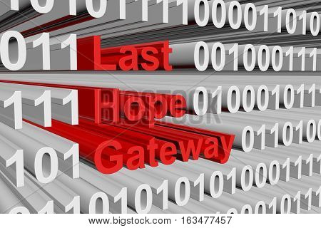 Last hope gateway in the form of binary code, 3D illustration