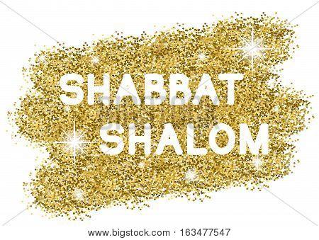 Shabbat shalome. White letters on golden background. Vector illustration.