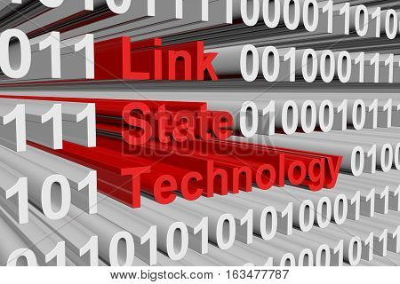 link state technology as binary code 3D illustration