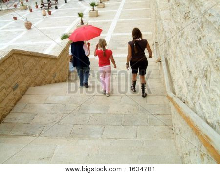 Tourists/Visitors/ Women And Girl Leaving /Walking Down Stairs