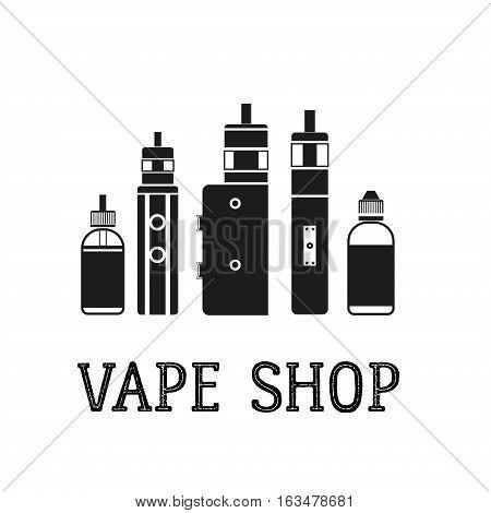 Vector illustration of bottle with e-liquid for electronic cigarettes. Phial vape logo badge on white background. Monochrome vial vape logotype. Cigarette icon vaporizer electronic smoke.